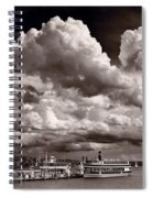 Gathering Clouds Over Lake Geneva Bw Spiral Notebook