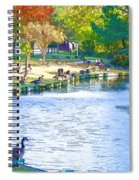 Geese In Pond 3 Spiral Notebook
