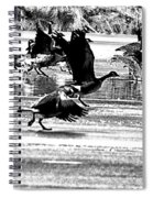 Geese On Ice Taking Flight Spiral Notebook