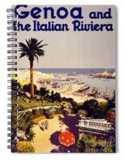 Genoa And The Italian Rivera Vintage Poster Restored Spiral Notebook
