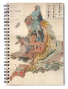 Geological Map Of England And Wales - Historical Relief Map - Antique Map - Historical Atlas Spiral Notebook