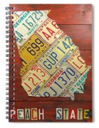 Georgia License Plate Map Spiral Notebook
