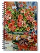 Geraniums And Cats Spiral Notebook