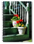 Geraniums And Pansies On Steps Spiral Notebook