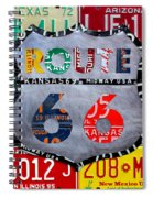 Get Your Kicks On Route 66 Recycled Vintage State License Plate Art By Design Turnpike Spiral Notebook