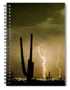 Giant Saguaro Southwest Lightning  Peace Out  Spiral Notebook