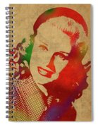 Ginger Rogers Watercolor Portrait Spiral Notebook