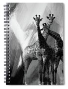 Giraffe Abstract Art Black And White Spiral Notebook