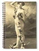 Girl In Body Stocking Holding Garland Of Flowers Spiral Notebook