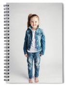 Girl In Jeans Clothes On White Background. Spiral Notebook