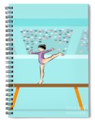 Girl Jumps On One Foot On The Balance Beam Spiral Notebook