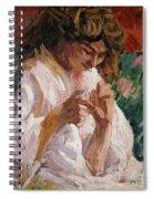 Girl Mending Spiral Notebook