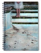 Girl On Steps Of Empty Pool Spiral Notebook