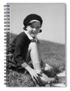 Girl Putting On Roller Skates, C.1930s Spiral Notebook