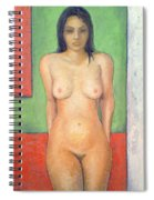 Girl Standing By Abstract Spiral Notebook