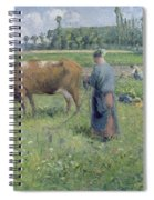 Girl Tending A Cow In Pasture Spiral Notebook