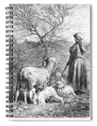 Girl Tending Sheep Spiral Notebook
