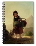 Girl With Basket Spiral Notebook