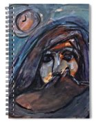 Girl With Cat And Moon Spiral Notebook