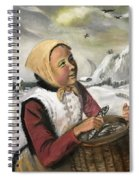 Girl With Fish Basket Spiral Notebook