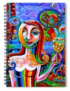 Girl With Glass Of Chardonnay Spiral Notebook