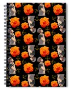 Girl With Roses And Anchors Black Spiral Notebook
