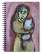 Girl With White Cat Spiral Notebook