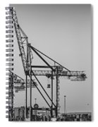Global Containers Terminal Cargo Freight Cranes Bw Spiral Notebook