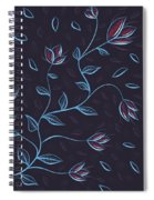Glowing Blue Abstract Flowers Spiral Notebook