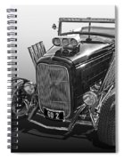 Go Hot Rod In Black And White Spiral Notebook