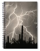 God Bless America Bw Lightning Storm In The Usa Desert Spiral Notebook