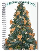 Gold Bow Xmas Card Spiral Notebook