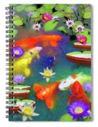Gold Fish And Water Lily Pads Spiral Notebook