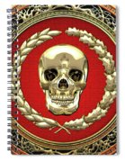 Gold Human Skull Over White Leather  Spiral Notebook