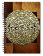 Gold Mayan-aztec Calendar On Brown Leather Spiral Notebook