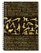 Gold Yoga Asanas / Poses Sanskrit Word Art  Spiral Notebook