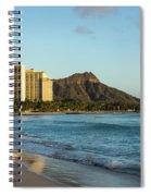Golden Bliss On The Beach - Waikiki And Diamond Head Volcano Spiral Notebook
