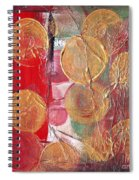 Golden Circles On Red And Green Spiral Notebook