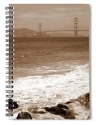 Golden Gate Bridge With Shore - Sepia Spiral Notebook