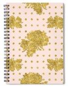 Golden Gold Blush Pink Floral Rose Cluster W Dot Bedding Home Decor Spiral Notebook