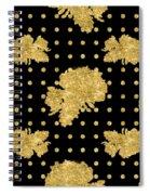 Golden Gold Floral Rose Cluster W Dot Bedding Home Decor Art Spiral Notebook