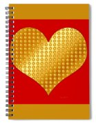 Golden Heart Red Spiral Notebook