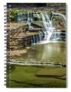 Golden Leaves And Mossy Tiers Of Enfield Glen Waterfall Spiral Notebook