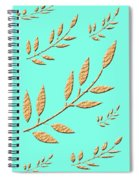 Golden Leaves On Aqua Spiral Notebook
