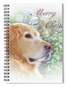 Golden Retriever Dog Merry Christmas Card Spiral Notebook