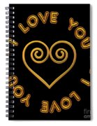 Golden Scrolled Heart And I Love You Spiral Notebook