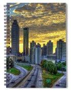 Golden Skies Atlanta Downtown Sunset Cityscape Art Spiral Notebook