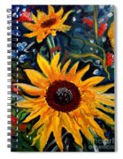 Golden Sunflower Burst Spiral Notebook