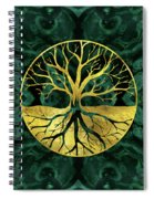Golden Tree Of Life Yggdrasil On Malachite Spiral Notebook