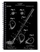 Golf Club Patent Drawing Black Spiral Notebook